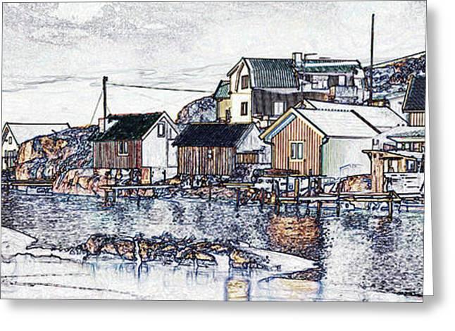 Swedish Village Greeting Card by Wedigo Ferchland