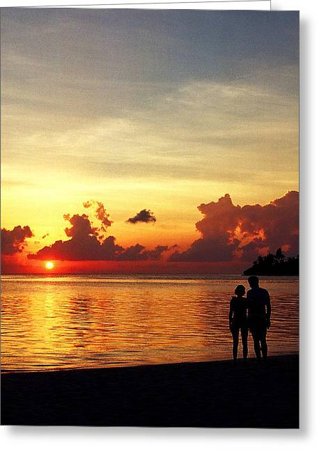 Sweet Golden Memory. Maldives Greeting Card by Jenny Rainbow