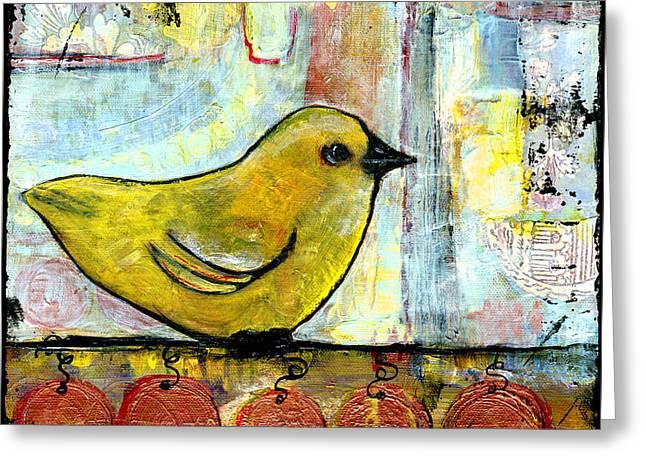 Sweet Green Bird Greeting Card by Blenda Studio