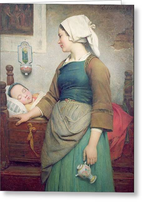 Sweet Slumber Greeting Card by Emile Auguste Hublin