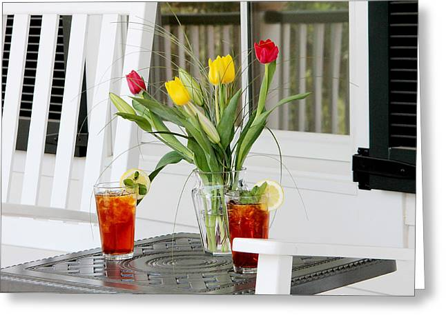 Sweet Tea And Tulips Greeting Card by Toni Hopper