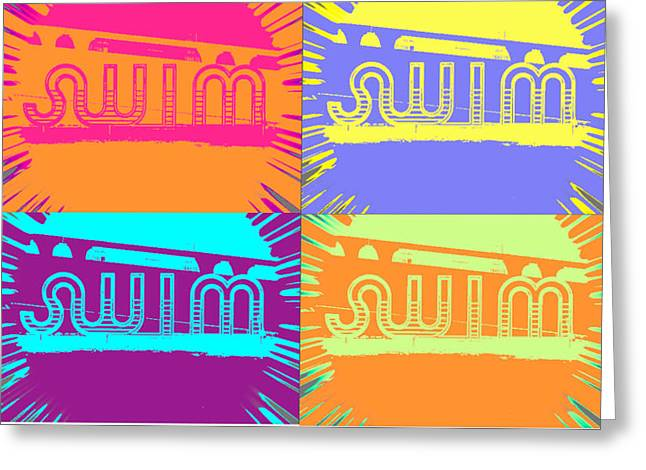 Swim Greeting Card by Amber Hennessey