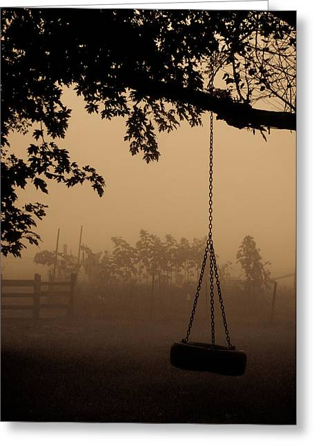 Greeting Card featuring the photograph Swing In The Fog by Cheryl Baxter