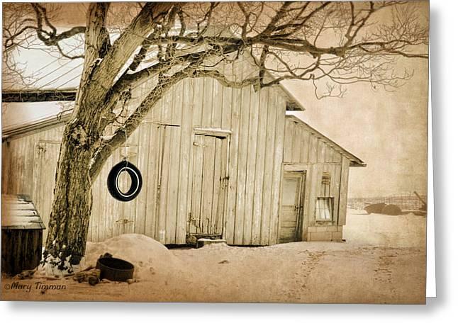 Greeting Card featuring the digital art Swingin Barn by Mary Timman