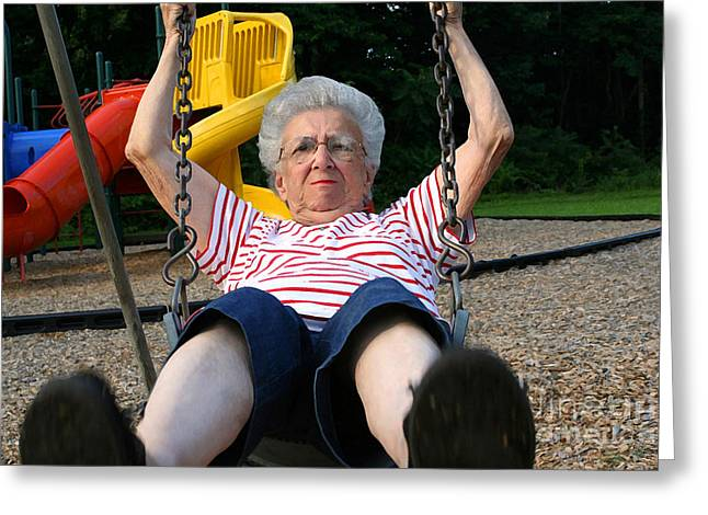 Swinging Grandmother 11 Greeting Card