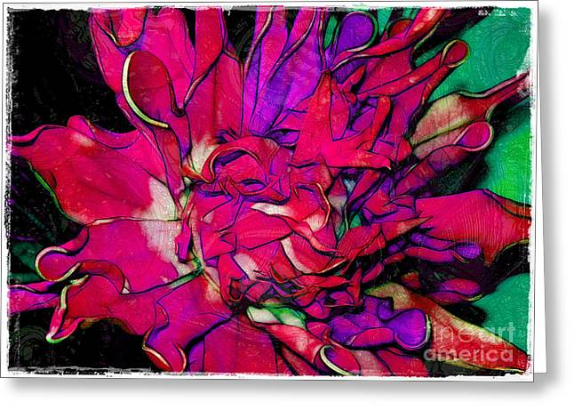 Swirly Fabric Flower Greeting Card by Judi Bagwell