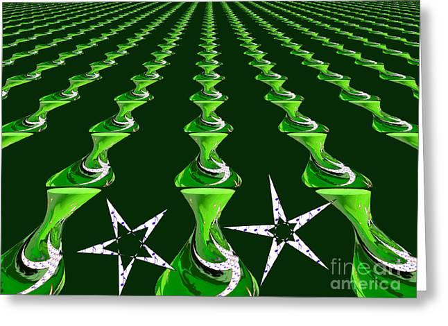 Swirly Green Links Greeting Card by Jeannie Atwater Jordan Allen