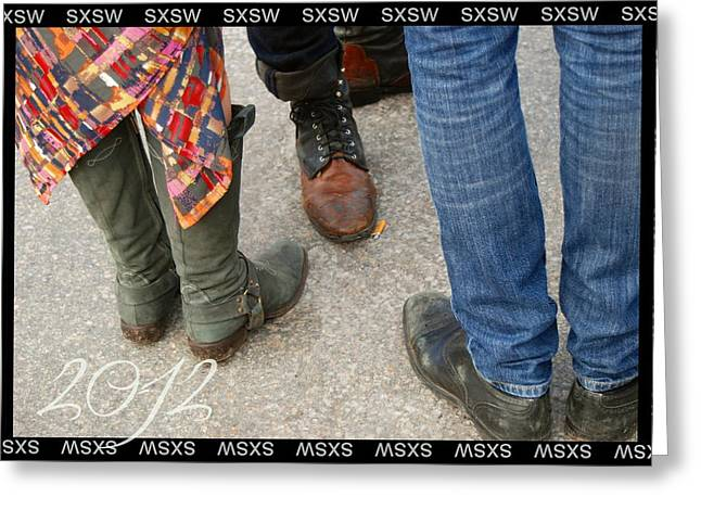 Sxsw Hipster Shoe Meet Up Greeting Card by Jennifer Holcombe