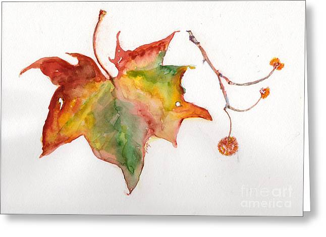 Greeting Card featuring the painting Sycamore Fall by Doris Blessington