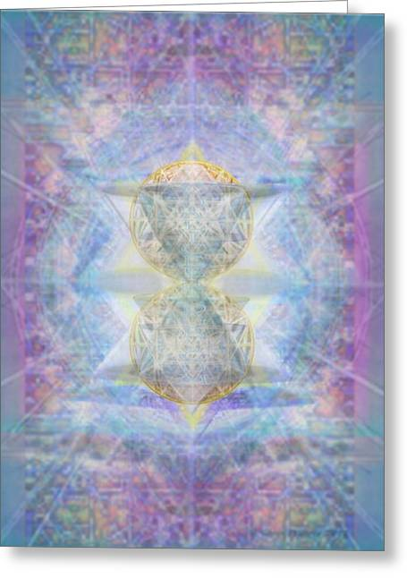 Synthecentered Doublestar Chalice In Blueaurayed Multivortexes On Tapestry Greeting Card
