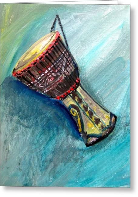 Greeting Card featuring the painting Tabla 1 by Amanda Dinan