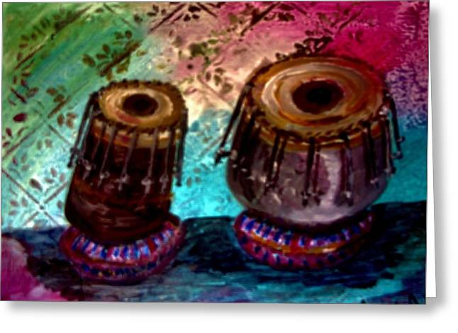 Greeting Card featuring the painting Tabla 3 by Amanda Dinan