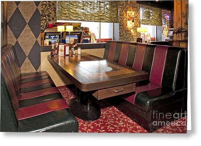 Table And Booths At An Americana Diner Greeting Card by Jaak Nilson