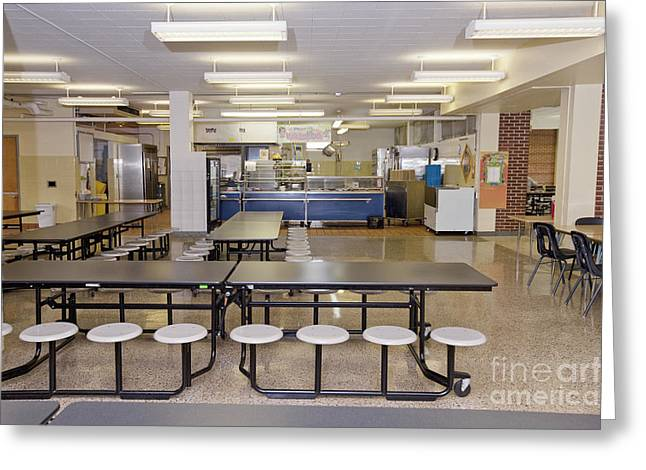 Table And Seats In A School Cafeteria Greeting Card by Will & Deni McIntyre