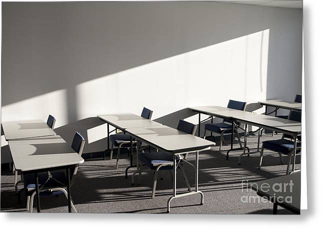 Tables And Chairs In A College Classroom Greeting Card