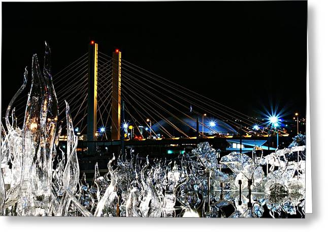 Tacoma Museum Of Glass Outdoor Sculpture Enhanced Greeting Card