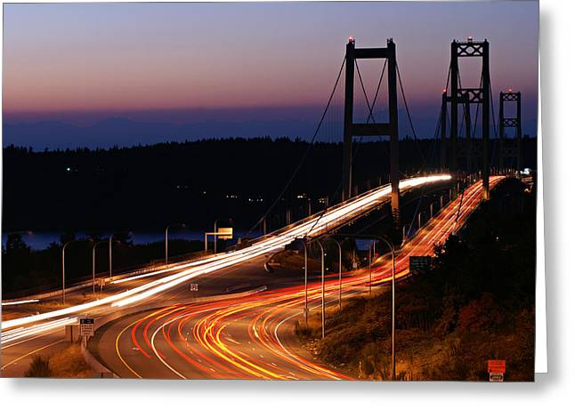 Tacoma Narrows Bridges Flowing Light  Greeting Card