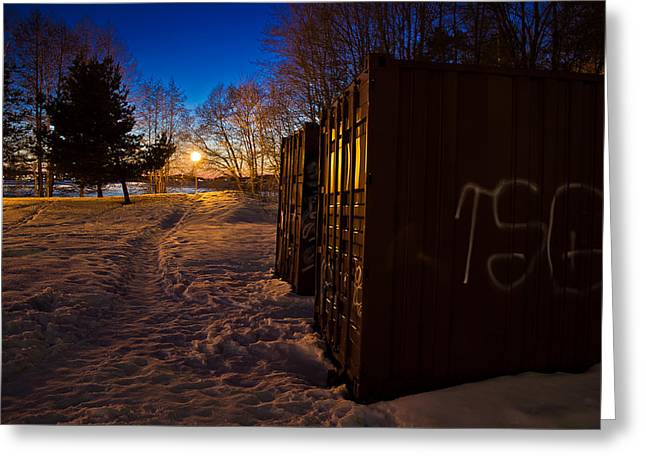 Greeting Card featuring the photograph Tagged Containers by Matti Ollikainen