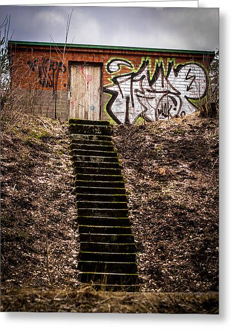 Greeting Card featuring the photograph Tagstairs by Matti Ollikainen