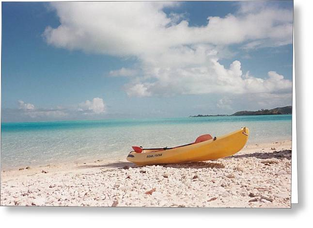 Tahiti Ocean Kayak On Beach Greeting Card by Mark Norman