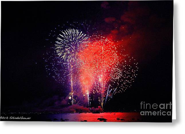 Greeting Card featuring the photograph Tahoe Fireworks. by Mitch Shindelbower