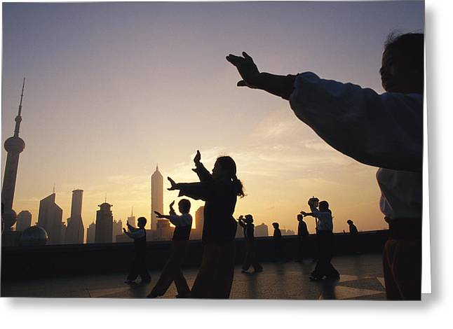 Tai Chi On The Bund In The Morning Greeting Card by Justin Guariglia