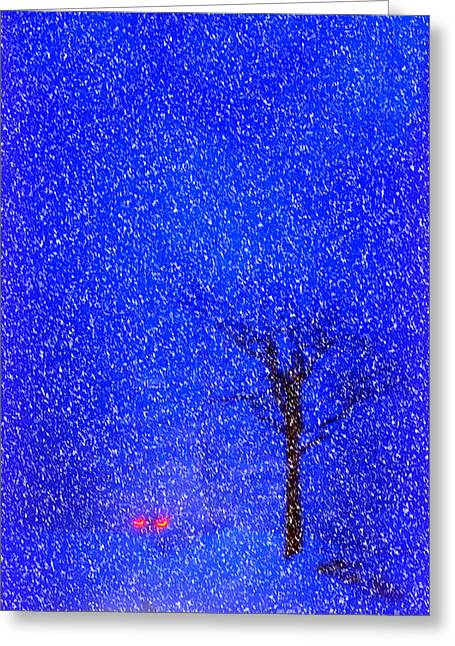 Tail Lights In A Snow Storm Greeting Card by Lila Fisher-Wenzel