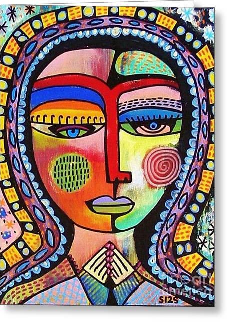 -talavera Virgin Of Guadalupe Enlightenment Greeting Card by Sandra Silberzweig