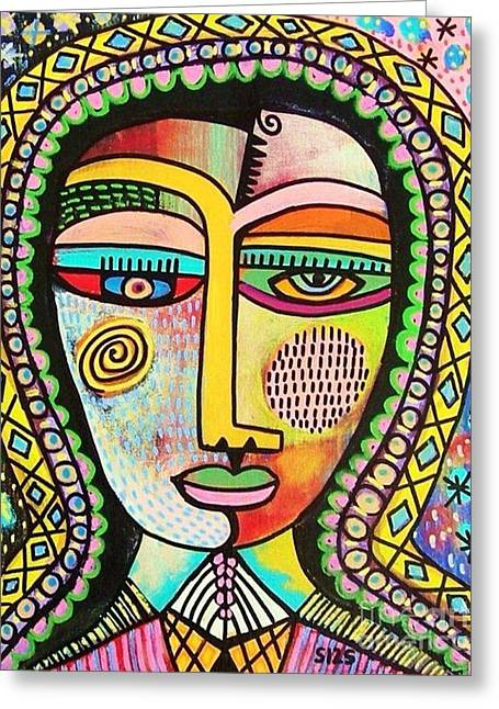 -talavera Virgin Of Guadalupe Miracles Greeting Card by Sandra Silberzweig