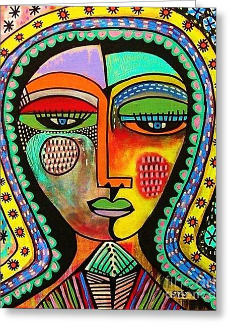 -talavera Virgin Of Guadalupe Blessings Greeting Card by Sandra Silberzweig