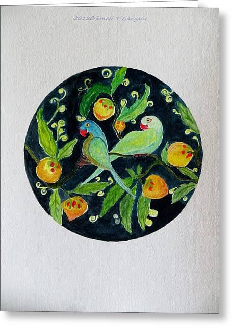 Talkative Parakeets Greeting Card by Sonali Gangane