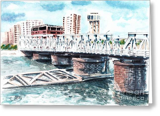 Talkha Bridge Greeting Card by Muna Abdurrahman