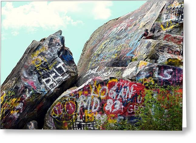 Talking Rocks And Sky Greeting Card by Susan Leggett