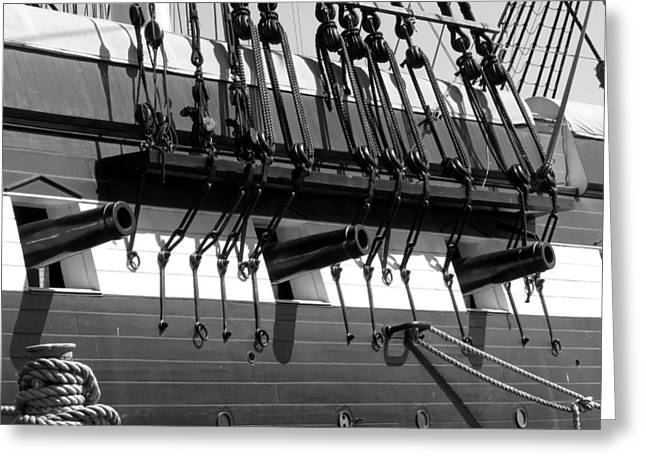 Greeting Card featuring the photograph Tall Ship Canons Black And White by Darleen Stry
