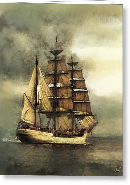 Tall Ship Greeting Card by Marcin and Dawid Witukiewicz