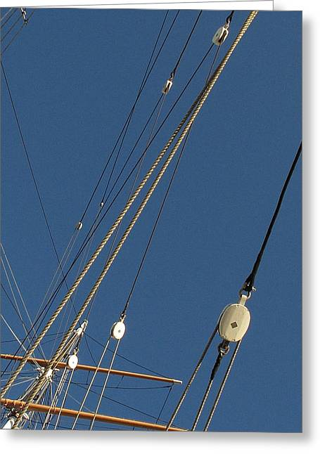 Tall Ship Rigging 3 Greeting Card by Winston  Wetteland