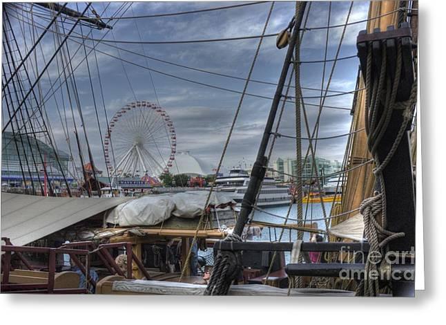 Tall Ships At Navy Pier Greeting Card by David Bearden