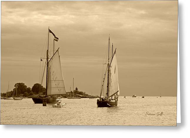 Tall Ships Sailing In Sepia Greeting Card by Suzanne Gaff