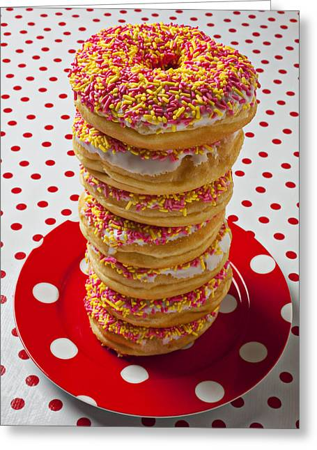 Tall Stack Of Donuts Greeting Card