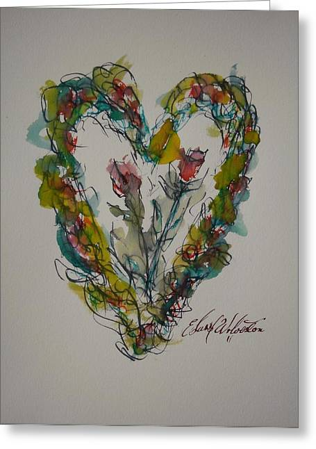 Tall Tell Heart In Love Greeting Card by Edward Wolverton
