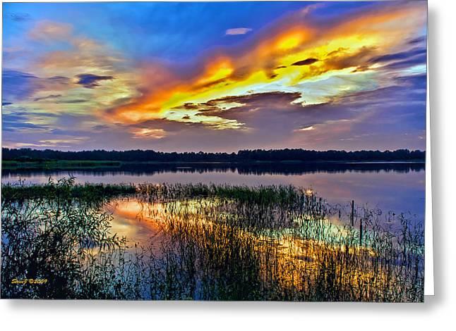 Talmadge Lake Florida Sunset Greeting Card