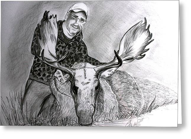 Tamed Moose Greeting Card by Carolyn Ardolino