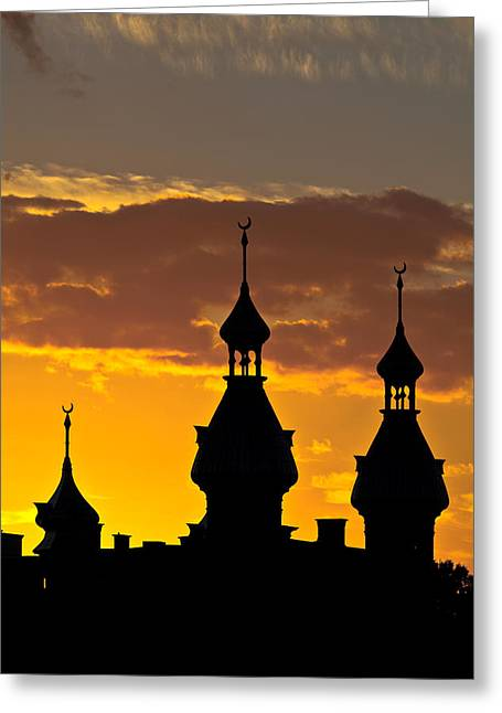 Greeting Card featuring the photograph Tampa Bay Hotel Minarets At Sundown by Ed Gleichman