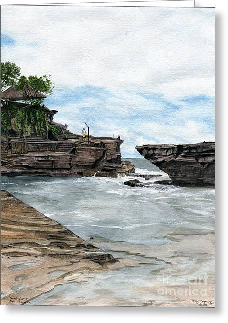 Greeting Card featuring the painting Tanah Lot Temple II Bali Indonesia by Melly Terpening