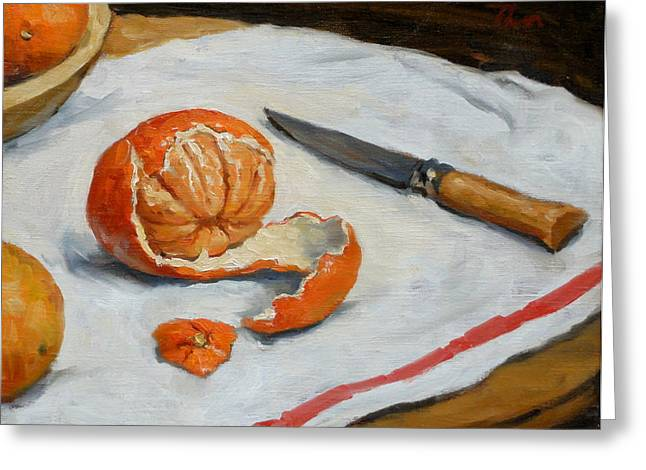 Tangerine And Knife Greeting Card