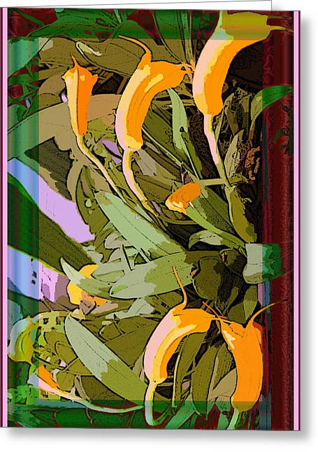 Tangerine Orchids Greeting Card