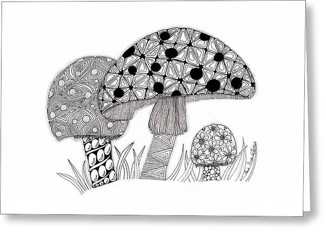 Tangled Mushrooms Greeting Card by Paula Dickerhoff