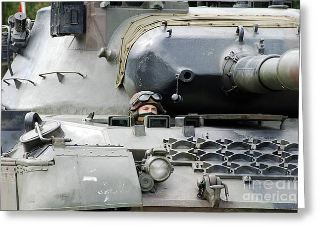 Tank Driver Of A Belgian Leopard 1a5 Greeting Card by Luc De Jaeger