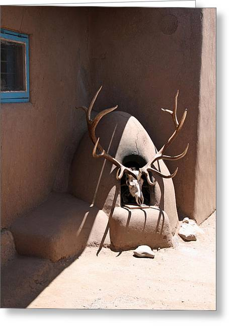 Taos Horno And Antlers Greeting Card