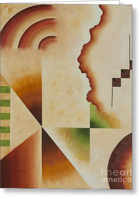 Greeting Card featuring the painting Taos Series- Architectural Journey I by Arthaven Studios